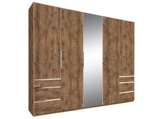 Drehtürenschrank mit Spiegel + Laden 250cm Level 36a, Eiche - Eichefarben, MODERN, Glas/Holzwerkstoff (250/216/58cm)