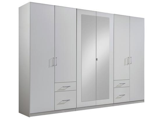 Kleiderschrank Fly B: ca. 270 cm Weiß - Weiß, Design, Glas/Holzwerkstoff (270/210/58cm) - Carryhome