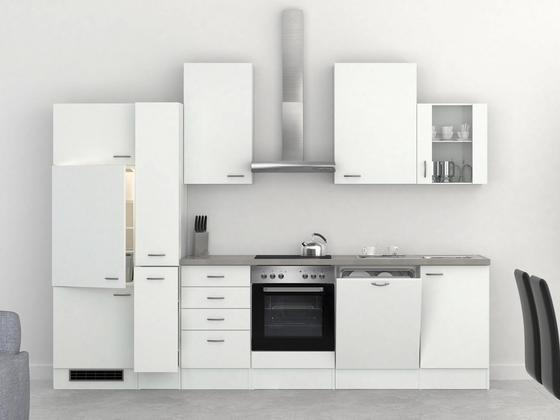 Küchenblock Wito 310cm Weiß - Edelstahlfarben/Weiß, MODERN, Holzwerkstoff (310/60cm)
