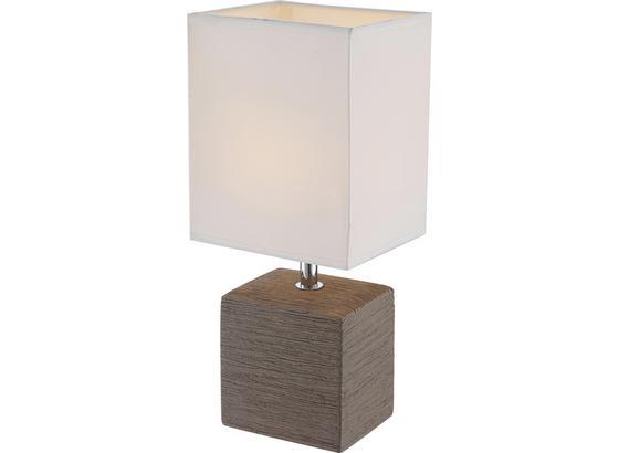 Tischlampe Geri Weiß/Braun mit Keramikfuß In Holz-Optik - Weiß/Braun, ROMANTIK / LANDHAUS, Keramik/Textil (13/11/29cm) - James Wood