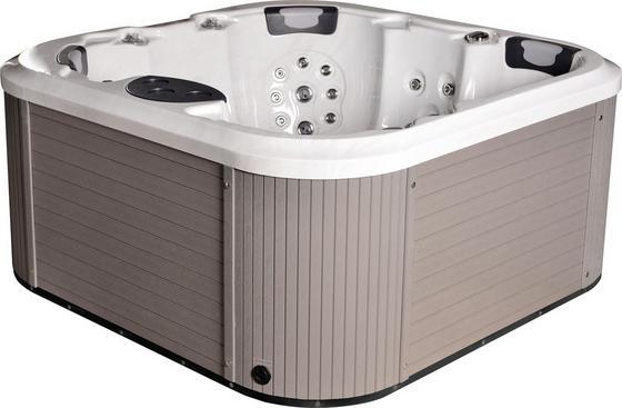 Outdoor Whirlpool Florenz Set - Weiß/Grau, MODERN, Holz/Kunststoff (200/91/200cm)