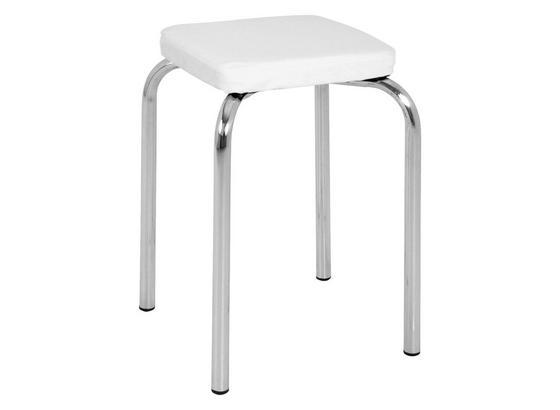 Stohovateľná Stolička Pik - biela/chrómová, Moderný, kov (36/49/36cm)