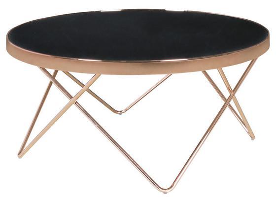 Couchtisch D: ca. 82 cm - Schwarz/Kupferfarben, Design, Glas/Metall (82/82/39cm) - Carryhome