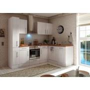 Küchenblock Premium B: 250 cm Lärche Weiß - Eichefarben/Weiß, MODERN, Holzwerkstoff (250/172cm) - MID.YOU