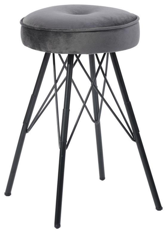 Hocker Kira Grau - Schwarz/Grau, MODERN, Textil/Metall (30/51/30cm)