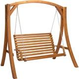 Hollywoodschaukel Medina 2 Sitzer, Lärchenholz - Lärchefarben, MODERN, Holz/Metall (193/195/128cm) - Ombra