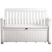 Gartenbank Kunststoff 2-Sitzer Patio Bench White mit Truhe - Weiß, MODERN, Kunststoff (138,6/88/63,5cm)