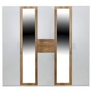 Drehtürenschrank mit Spiegel 225cm Diver, Weiß/ Eiche Dekor - Eichefarben/Weiß, KONVENTIONELL, Holz/Holzwerkstoff (225/210/58cm)