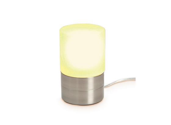 Tischleuchte Marion - Weiß/Nickelfarben, KONVENTIONELL, Glas/Metall (9/14,8cm) - Ombra