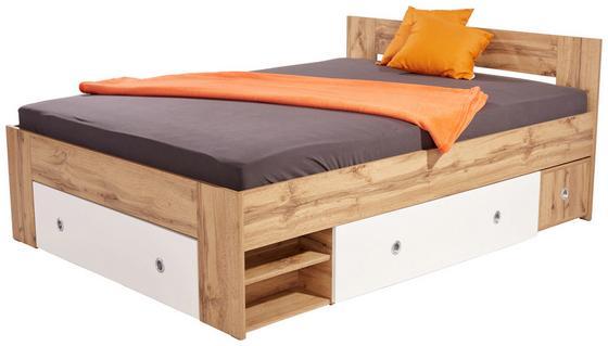 Posteľ Azurro 140 - biela/dub sonoma, Moderný, kompozitné drevo (204/75/145cm)