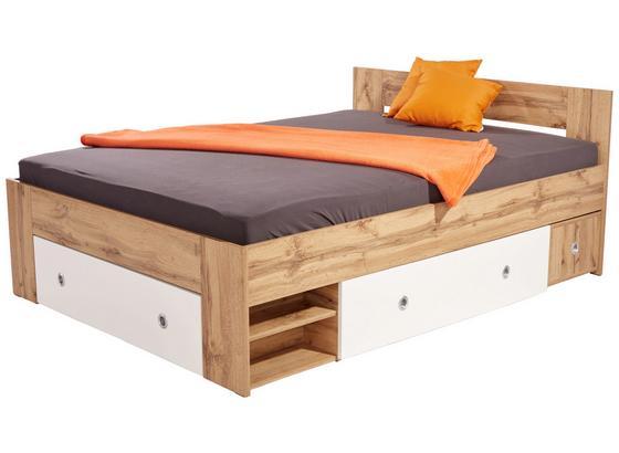 Postel Azurro 140 - bílá/Sonoma dub, Moderní, kompozitní dřevo (204/75/145cm)