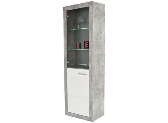 Vitrína Malta - farby dubu/sivá, Moderný, kompozitné drevo (63,9/196,6/34,9cm)