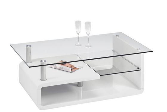 Couchtisch Cassandra in Weiß mit Tischplatte aus Glas - Weiß, MODERN (120/40/65cm)