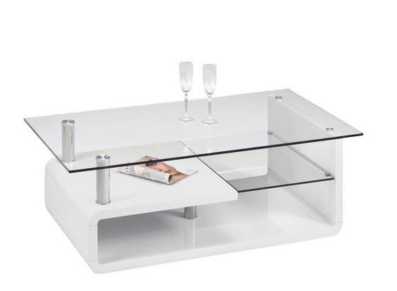 Couchtisch Glas mit Ablagefach Cassandra, Weiß - Weiß, MODERN (120/40/65cm)