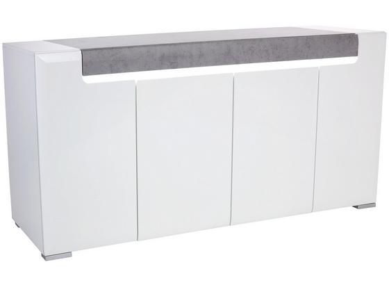 Kommode Toronto New Tok11 B:190cm Betonoptik/ Weiß - Weiß/Grau, MODERN, Holzwerkstoff (190/84,5/42,2cm) - Ombra