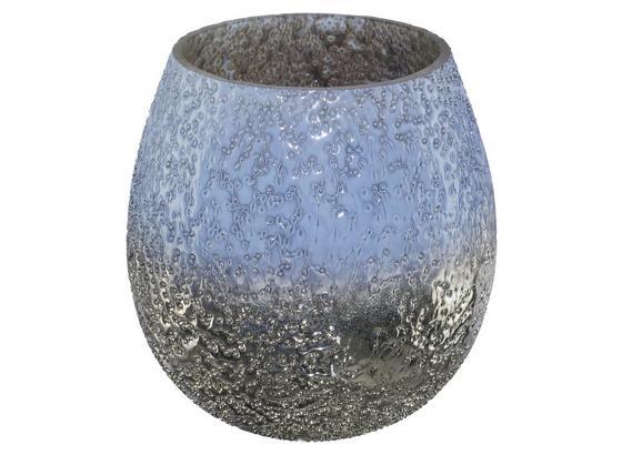 Windlicht Silver Sky - Blau/Silberfarben, ROMANTIK / LANDHAUS, Glas (10cm)