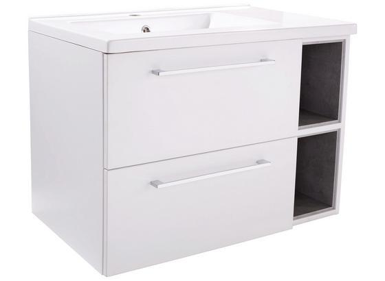 Kombinované Umývadlo Techno - biela, Moderný, kompozitné drevo/keramika (80/54/45cm)