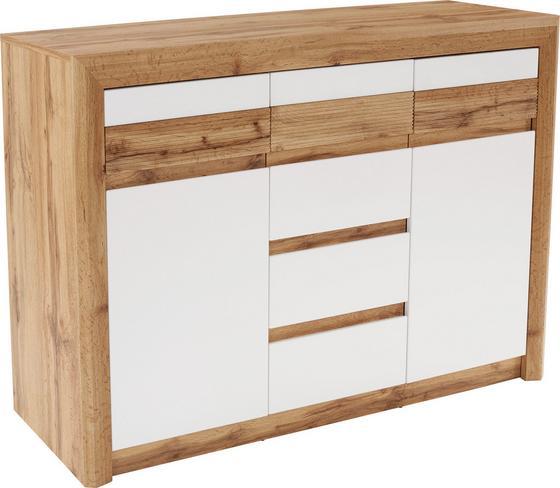 Komoda Kashmir New Kak01 - bílá/barvy dubu, Moderní, dřevěný materiál (142/89/41cm) - James Wood