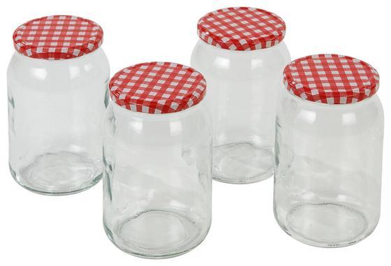 Einmachglas Ulrike, 948 ml - Transparent/Rot, KONVENTIONELL, Glas/Metall (0,948l)