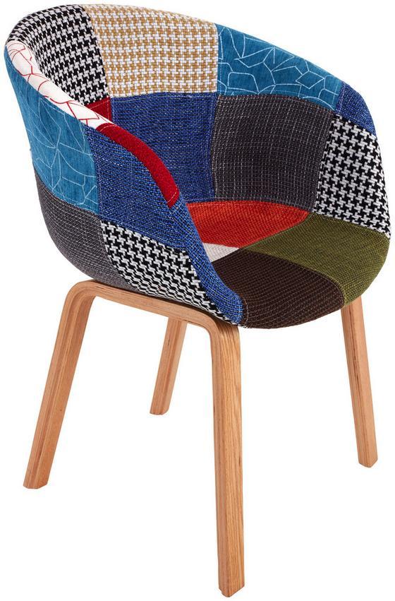Stuhl Patchwork Style - Multicolor/Naturfarben, MODERN, Holz/Kunststoff (59/81/55cm) - Ombra