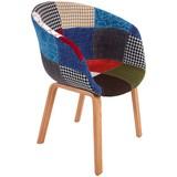 Židle Patchwork - Multicolor/přírodní barvy, Moderní, dřevo/textil (59/81/55cm) - Ombra