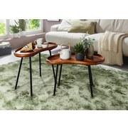 Couchtisch Holz mit Massiver Tischplatte, Sheesham/Schwarz - Sheeshamfarben/Schwarz, Design, Holz/Metall (71/40/51cm) - Livetastic