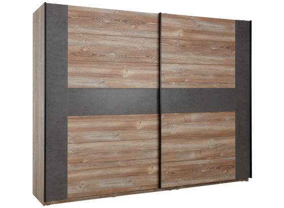 Skříň S Pos. Dveřmi.(hor.ved.) Chanton - barvy borovice/šedá, Lifestyle, kov/kompozitní dřevo (270/210/63cm) - Based