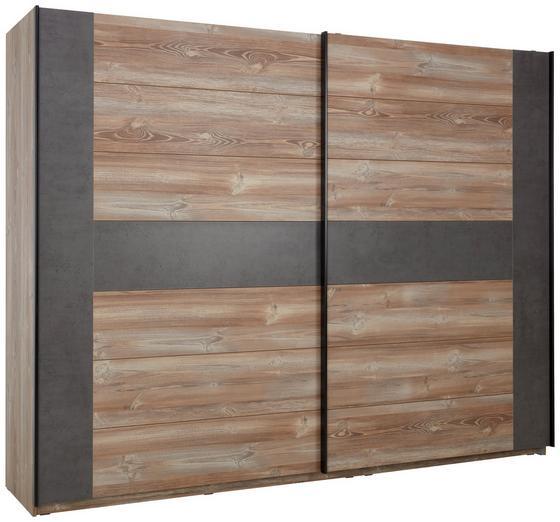 Skříň S Posuvnými Dveřmi Chanton - barvy borovice/šedá, Lifestyle, kov/dřevěný materiál (270/210/63cm) - Based