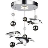 LED-Deckenleuchte Vogel - Chromfarben, MODERN, Kunststoff/Metall (42/60cm)