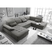 Wohnlandschaft in U-Form Wayne ca. 188x340x240 cm - Schlammfarben/Silberfarben, KONVENTIONELL, Holzwerkstoff/Textil (188/340/240cm) - Carryhome
