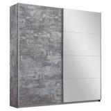 Schwebetürenschrank Belluno 181 cm Stone/ Spiegel - Grau, MODERN, Holzwerkstoff (181/230/62cm)