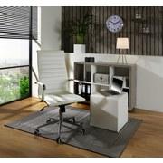 Drehstuhl Office in Weißem Lederlook - Chromfarben/Weiß, KONVENTIONELL, Kunststoff/Textil (54/111,5-121/64,5cm)