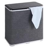 Wäschetonne Galdino - Weiß/Grau, MODERN, Kunststoff/Textil (49/50/27cm)