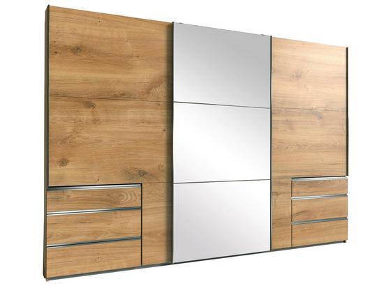 Schwebetürenschrank mit Spiegel 300cm Level 36a, Eiche Dekor - Eichefarben, MODERN, Glas/Holzwerkstoff (300/216/65cm)