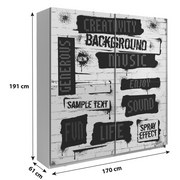 Schwebetürenschrank 170cm Plakato Words, Weiß Dekor - Multicolor/Weiß, MODERN, Holzwerkstoff/Kunststoff (170,3/190,5/61,2cm)