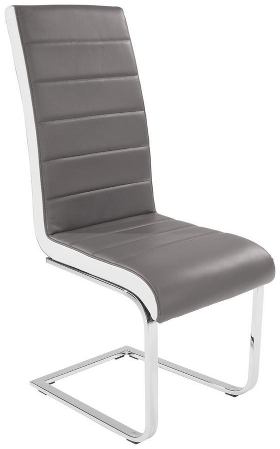 Stolička Alex - sivá/biela, Konvenčný, kov/textil (43/103/55cm)
