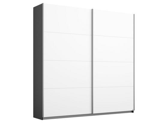 Schwebetürenschrank 181cm Belluno, Grau/ Weiß Dekor - Dunkelgrau/Weiß, MODERN, Holzwerkstoff (181/210/62cm)