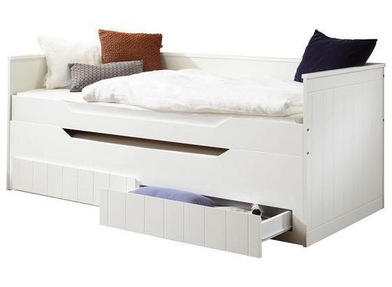 Stauraumbett Ronny 90x200 cm Weiß - Buchefarben/Weiß, MODERN, Holz/Holzwerkstoff (205/97-234/65cm)