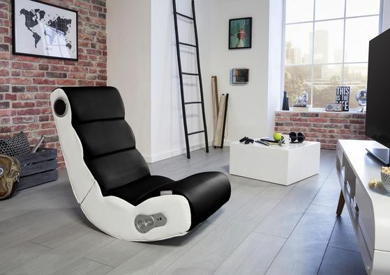Gamingstuhl fürs Wohnzimmer mit Soundsystem in Schwarz und Weiß