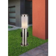 Außenleuchte Boston 60 Watt Edelstahl - Edelstahlfarben/Opal, Basics, Kunststoff/Metall (13,1/45cm)