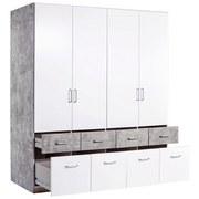 Kleiderschrank Aalen Extra B:181cm Weiß/ Stone Grey Dekor - Weiß/Grau, KONVENTIONELL, Glas/Holzwerkstoff (181/197/54cm)