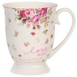 Kaffeebecher Mirablella ca. 380ml - Rosa/Weiß, ROMANTIK / LANDHAUS, Keramik (9,8/6,6cm) - James Wood