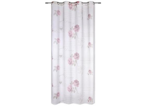 Závěs S Kroužky Diary Rose - bílá, Romantický / Rustikální, textil (140/245cm) - Mömax modern living