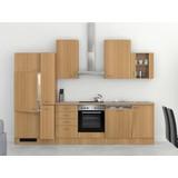 Küchenblock Nano 310 cm Buche - Edelstahlfarben/Buchefarben, MODERN, Holzwerkstoff (310/60cm)