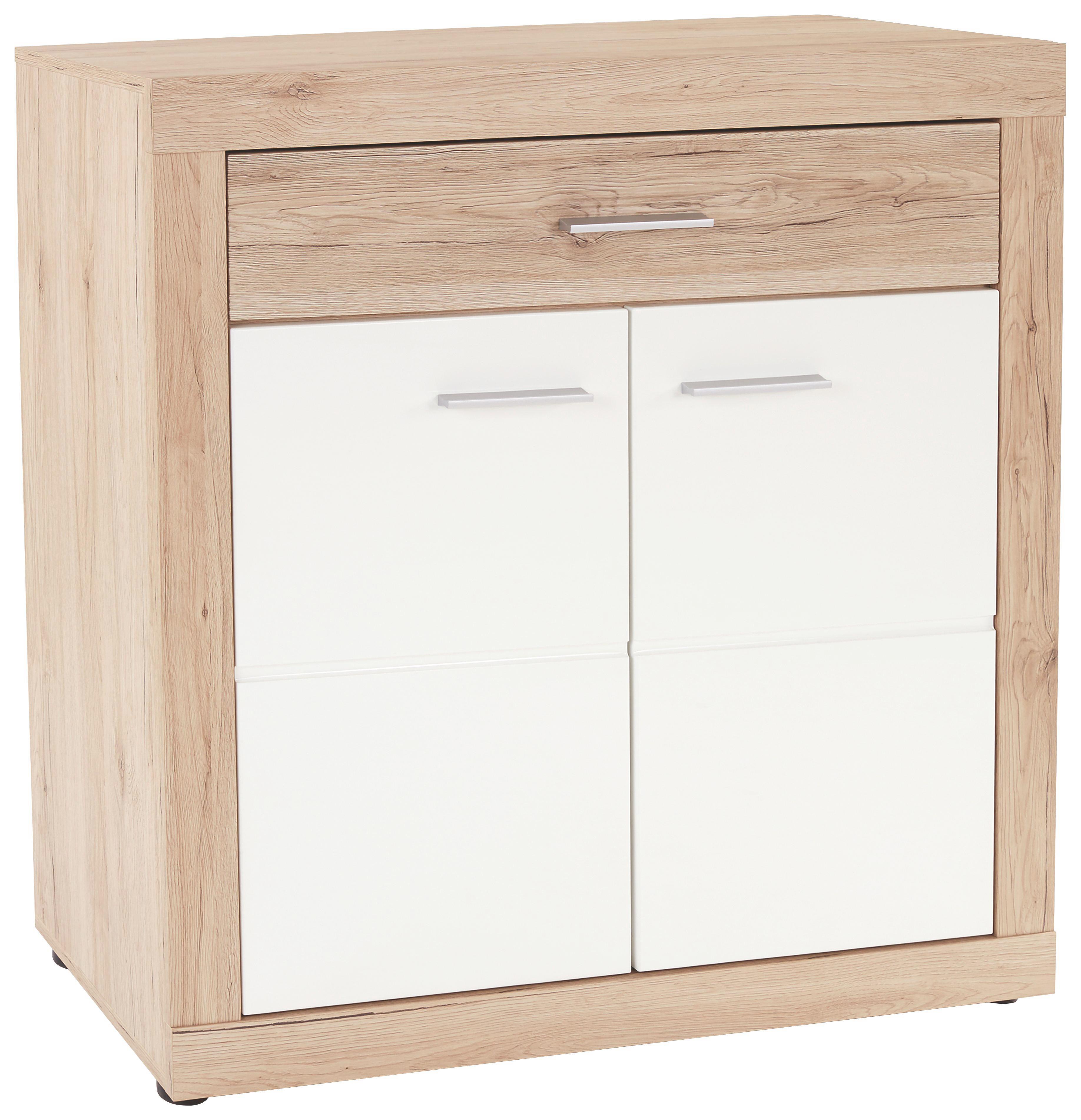 Komoda Malta - bijela/boje hrasta, Moderno, drvni materijal (95/98,7/36cm)