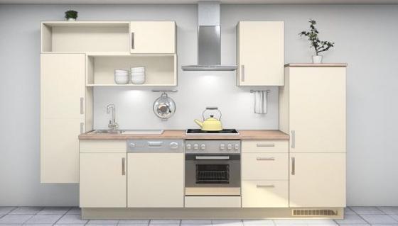 Küchenblock Kiara 330 cm Magolia - Magnolie, MODERN, Holzwerkstoff (330cm) - Vertico