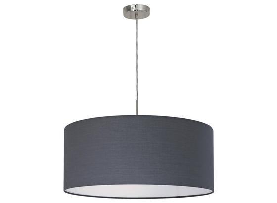 Hängeleuchte Pasteri - Grau/Nickelfarben, MODERN, Textil/Metall (53/110cm)