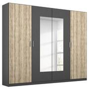 Drehtürenschrank mit Spiegel 226cm Borneo, Eiche/Grau - Basics, Holzwerkstoff (226/210/54cm) - MID.YOU