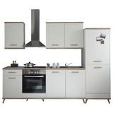 Küchenblock Retro B:275cm Weiß/Eiche Dekor - Eichefarben/Weiß, LIFESTYLE, Holzwerkstoff (275/215/60cm) - Livetastic