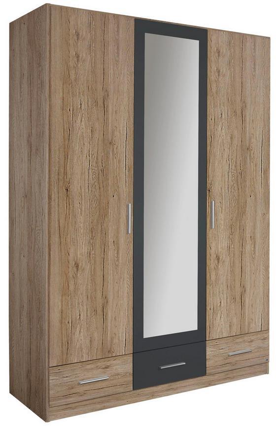 Skříň Bühl - šedá/barvy dubu, Konvenční, dřevo (136/197/54cm)